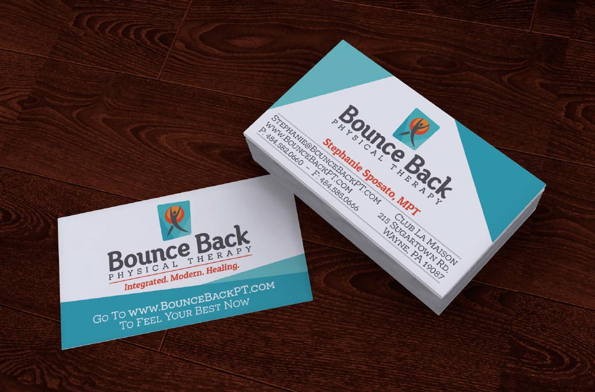 Bounce Back Physical Therapy Business Card Design