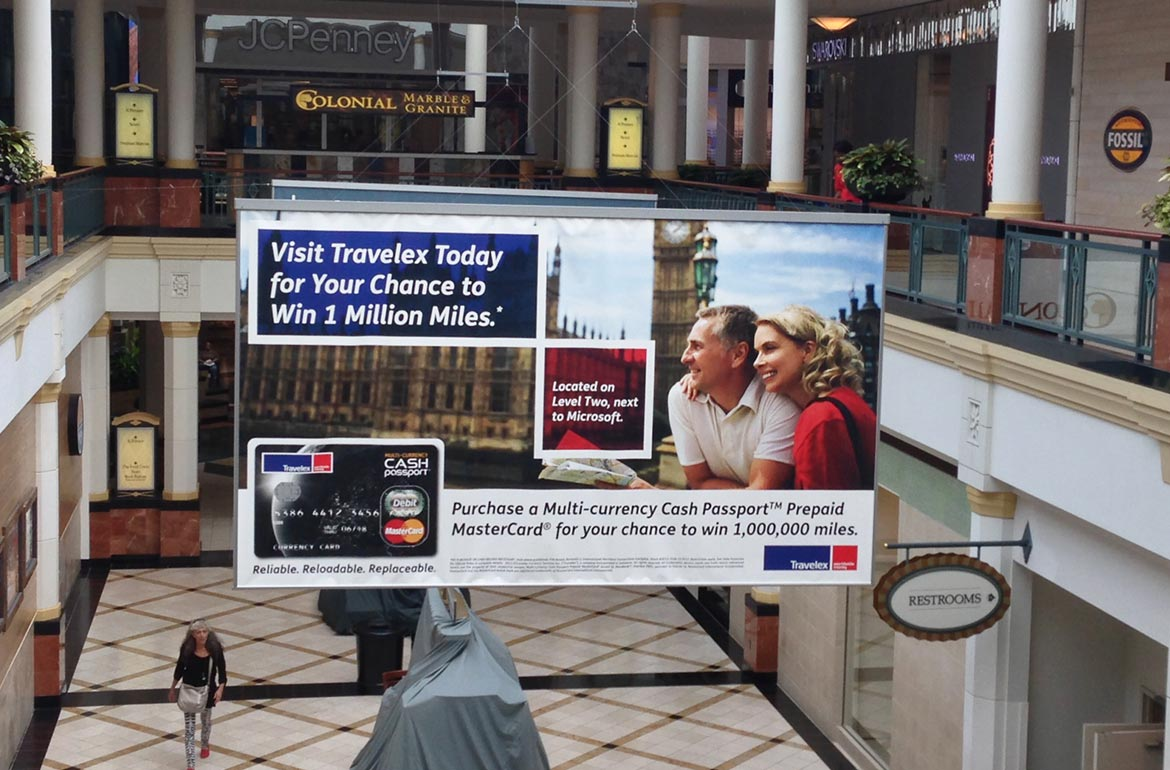 King of Prussia Mall Sky Banner Advertisement Travelex MasterCard Design